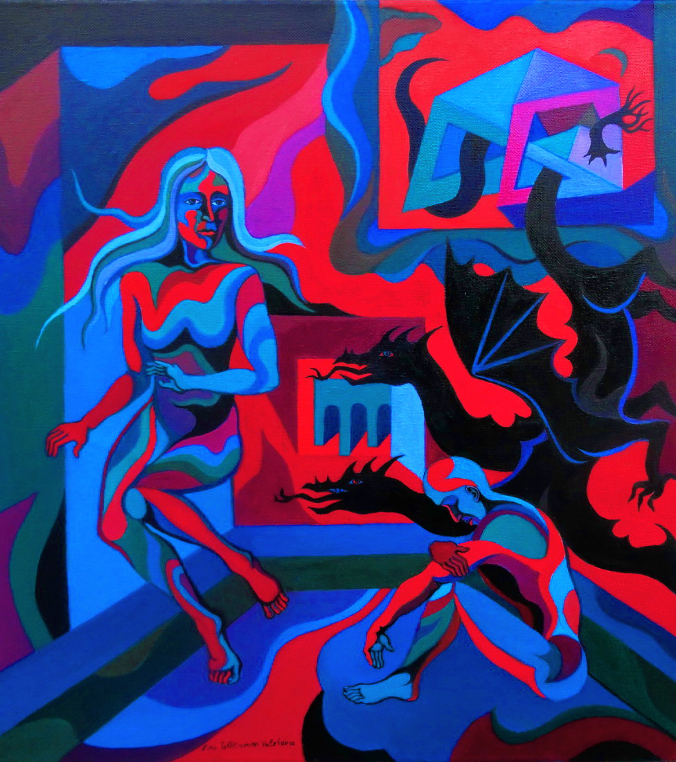 Ezdeha , Who Takes Away the Light into Abyss, oil painting, 2015, 60 x 70 cm x.jpg - Ezdeha, Who Takes Away The Light  Into Abyss
